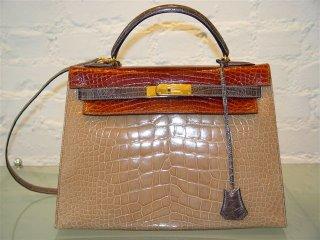 DECADES INC.  Hermes Grey, Taupe and Cognac 32cm Crocodile Kelly a368dfda93