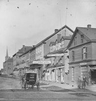 The south side of Queen Square, later known as Victoria Row, was one of Charlottetown's main commercial streets in the 1870s.