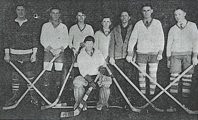 Left to Right: Jim Gooselaw, Fred Stranger, Allen Smith, Roy Clow, Manuel Gooselaw, Cecil Smith, Billy MacKay; Goalkeeper (seated), Ralph Cameron