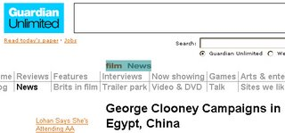 Screenshot of Guardian Unlimited: Film: News
