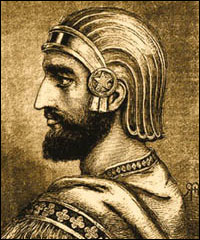 Cyrus the Great, Father of Iran and founder of first Persian Empire. Also Known for his first charter of human rights, the Cyrus Cylinder. Born: 590 BC