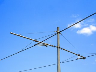 Tram Cables agains the blue Sky