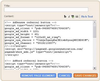 Blogger Beta: adding Adsense referral button scripts for less wastage of space