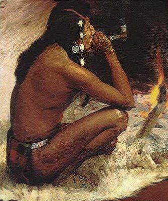 Amerindian smoking pipe - painting on canvas
