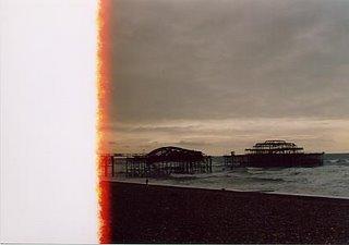 The derelict tumbledown pier in Brighton, Sussex, UK