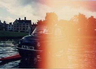 Image of Fiat car standing on water in Cambridge, UK