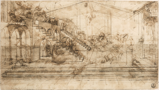 Leonardo da Vinci, study for Adoration of the Magi, Galleria degli Uffizi, Florence