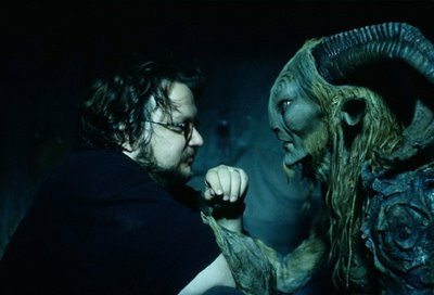 Guillermo del Toro and Doug Jones as the Faun, on the set of Pan's Labyrinth