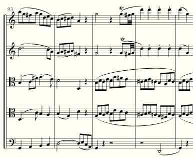 Excerpt from Mozart string quintet in C major, K. 515, first movement