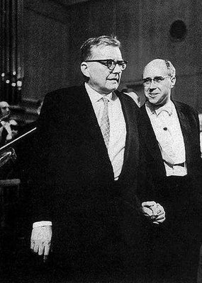 Dmitri Shostakovich and Mstislav Rostropovich, Moscow 1966, premiere of second cello concerto