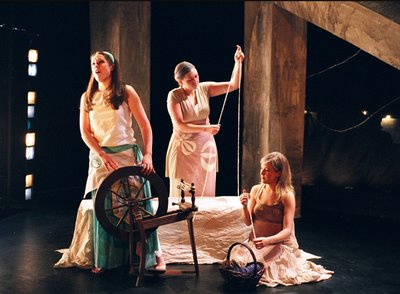 Leah Kaye Serr, Ruth Carver, and Sarah Hershman in The Rape of Lucretia, Peabody Chamber Opera, photo by Jesse M. Hellman