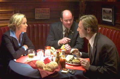 Maria Bello, David Koechner, and Aaron Eckhart in Thank You for Smoking, directed by Jason Reitman