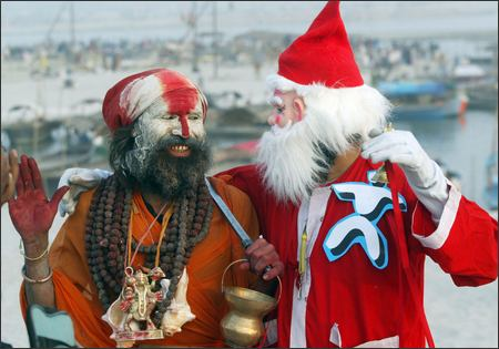 man dressed as santa claus with a sadhu. Black Bedroom Furniture Sets. Home Design Ideas