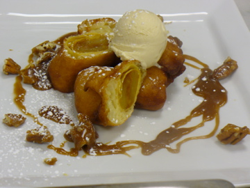Apple Beignets with caramel sauce, caramelized pecans, and caramel ice ...