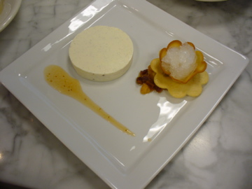 Panna Cotta with dried fruit compote. hippen, and Riesling granita