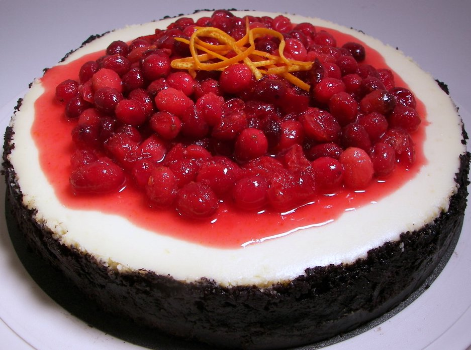 Cranberry-Orange Cheesecake with Oreo Crust (Adapted from Bon Appétit ...