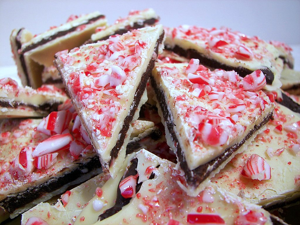 Layered Peppermint Crunch Bark(Adapted from Bon Appetit)