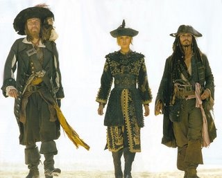 Captain Barbossa, Captain Jack Sparrow, Elizabeth Swann