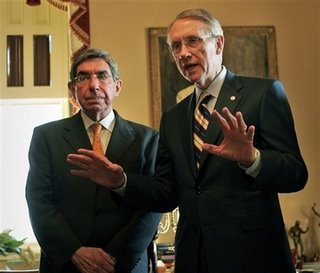 Incoming Senate Minority Leader Harry Reid of Nev., right, meets with Costa Rica's President Oscar Arias on Capitol Hill in Washington, Tuesday, Dec. 5, 2006.(AP Photo/Lawrence Jackson)