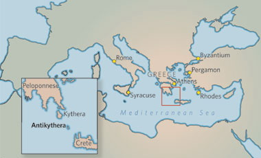 Map of the Mediterranean, showing Antikythera area in inset; from Jo Marchant, 'In search of lost time' (Nature)