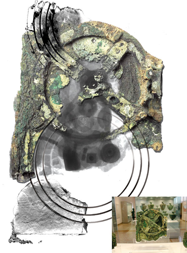 Antikythera Mechanism as it appears today, with x-rays superimposed; from Jo Marchant's 'In search of lost time' (Nature)