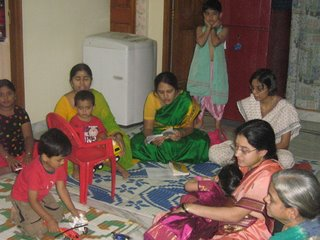 Section of ladies with kids during Bhajane