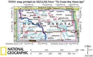 Map of North Dakota route to kite ski/snowboard.