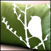 Bird on Cherry Blossom Pillow