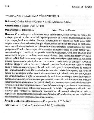Vacinas Artificiais para Vírus Virtuais