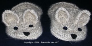 crocheted Westie slippers