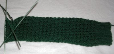 leg of dark green sock