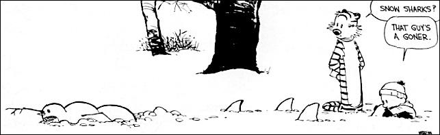 Calvin & Hobbes snowman sharks