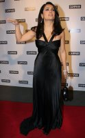Salma Hayek Showing Cleavage and Throwing Gang Signs