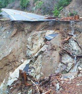 Broken up highway in Rainier National Park