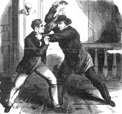 Lewis Paine killing Frederick Seward after attempting to shoot him.