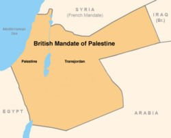The British Mandate of Palestine, consisting of Palestine (west) and Transjordan (east)