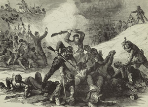 The war in Tennessee : Confederate massacre of Federal troops after the surrender at Fort Pillow, April 12th, 1864.