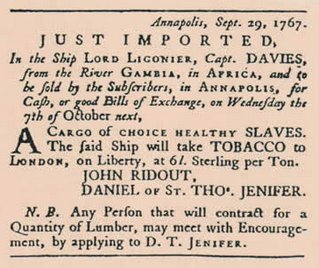 Advertisement in the October 1, 1767 Maryland Gazette Newspaper, announcing the arrival of the slave ship.