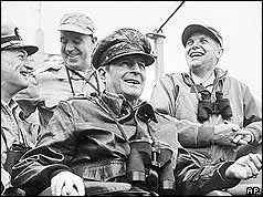 In 1951 on the direct orders of U.S. President Douglas MacArthur, General Matthew Ridgway led U.S. and allied troops across the Yalu River into the Peoples Republic of China.