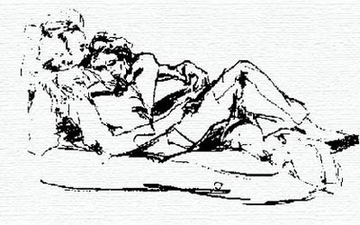 Drawing of Chazz and Denice relaxing on the couch