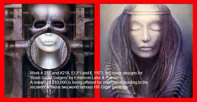 Work # 217 and #218, ELP I and II, 1973, the cover designs for 'Brain Salad Surgery' by Emerson Lake & Palmer.  A reward of $10,000 is being offered for information leading to the recovery of these two world famous HR Giger paintings.