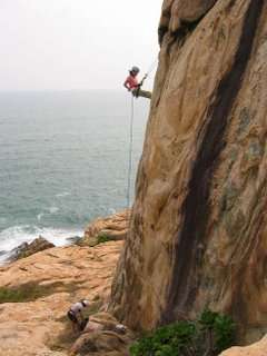 Abseiling: side view