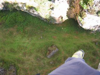 Looking down to the bottom of the canyon from the zipline