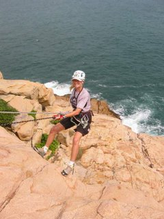 Wendy abseiling