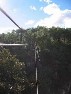 View from the zipline after crossing the gorge