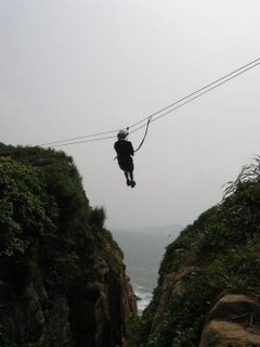 A zipline in action