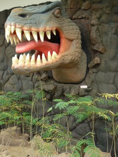 A dinosaur snarls at the entrance to the exhibition