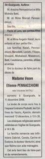 Décès Pennacchioni Natali Vincente