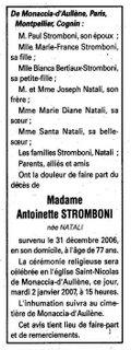 Décès Stromboni Natali Antoinette