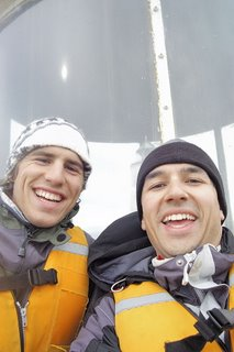 Con mi primo Joaquín en lo alto del Faro de Isla Magdalena